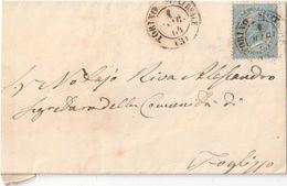 PIEGO CON FRANCOBOLLO C. 15 SERIE EFFIGIE VITTORIO EMANUELE II ANNULLO TORINO 01/12/1864 - CATALOGO SASSONE 18L (LONDRA) - Marcofilie