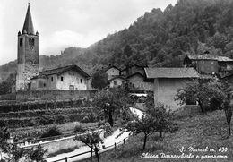 """07420 """"(AO) S. MARCEL M 630-CHIESA PARROCCHIALE E PANORAMA""""  VERA FOTO, S.A.C.A.T. CART NON SPED - Italia"""