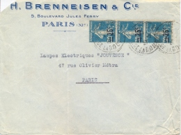 France 1927 Commercial Cover With 3 X 25/30 C. Semeuse Overprinted - Storia Postale