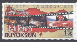 TURKEY, 2016, MNH,FLAGS, MARTYRS' DAY, JULY 15TH, FAILED JULY COUP, 1v - Stamps