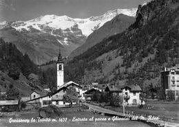 """07430 """"(AO) GRESSONEY LA TRINITE M. 1637-ENTRATA AL PAESE E GHIACCIAI M.ROSA"""" VERA FOTO, S.A.C.A.T. 946. CART NON SPED - Italia"""