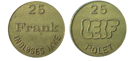03686 GETTONE JETON TOKEN DENMARK GAMING PLAY MACHINE INDLOSES IKKE FRANK LEIF POLET 25 - Tokens & Medals
