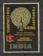 India New Delhi 1965 Peacock Paon Pavo Real Poster Stamp Label Vignette Viñeta - Peacocks