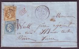 VOSGES - LAC - Tàd T17 REMIREMONT + GC 3106 Sur N° 28 + N° 29 -> Worms (Suisse) - Marcophilie (Lettres)