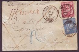 """VOSGES - LAC - Tàd T18 NEUFCHATEAU Sur N° 90 + N° 71 + """"Chargé"""" Pour Angers (47) - Marcophilie (Lettres)"""