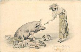 - Themes -ref-A333- Animaux - Cochons - Cochon - Carte Viennoise - Illustrateur - Illustrateurs - Porcelets - Etat - - Pigs