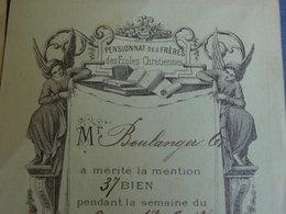 """HAINAUT -PASSY FROYENNES / 2 Bulletins De Notes """"PENSIONNAT DES FRÈRES Des Écoles Chrétiennes Avec Anges-1907-1908. - Diplômes & Bulletins Scolaires"""