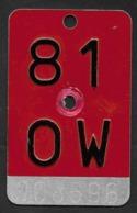Velonummer Obwalden OW 81 - Number Plates