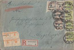 DR R-Brief Mif Minr.4x 326A,4x 328 Charlottenburg 30.11.23 Gel. Nach Augsburg Novemberbrief - Deutschland