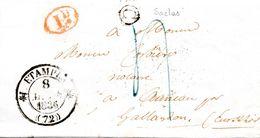 (L127) LAC D'Etampes Pour Auneau Avec Boîte Rurale C De Saclas Essonne Décime Rural 8 Mars 1836 - 1801-1848: Précurseurs XIX