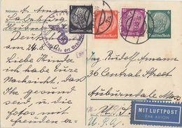 DR Ganzsache Luftpost Zfr. Minr.512,517,524 Salzburg 26.8.40 Gel. In USA Zensur - Briefe U. Dokumente
