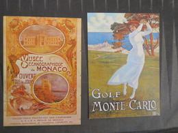TI - Reproduction D'affiche - Lot De 2 Cartes - Golfe De Monte Carlo - Musee Océanographique De Monaco - Pubblicitari