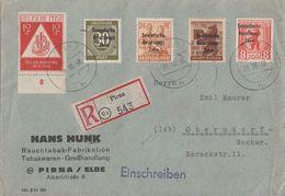 SBZ R-Brief Mif Minr.190,202,203,208,228 Pirna 28.10.48 - Sowjetische Zone (SBZ)