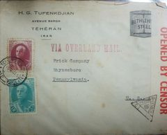 L) 1939 IRAN, REZA SHAH PAHLAVI, SCOTT A58, 75D ROSE LAKE,1R TURQ GREEN, VIA OVERLAND MAIL, CIRCULATED COVER FROM PERS - Iran