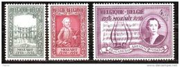 Belgium 1956 Mino 1036-1038 MLH* - Usati
