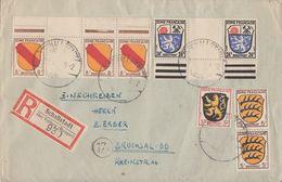 Fr. Zone R-Brief Mif Minr.2,2x 3,3x 4 Mit ZW, OR, 9 ZW, UR Schallstadt - Französische Zone