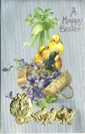 EASTER GREETINGS WITH APPLIQUED EGG PULLED BY CHICKS  P11 - Easter