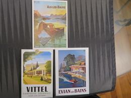 TI - Reproduction D'affiche - Lot De 3 Cartes  - VITTEL - EVIAN LES BAINS - AIX LES BAINS - Werbepostkarten