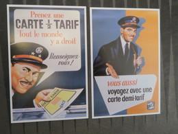 TI - Reproduction D'affiche - Lot De 2 Cartes  - CARTE SNCF - DEMI TARIF - Publicité
