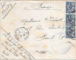 HOPITAL MILITAIRE MARIE-FEUILLET A RABAT MAROC MAROCCO MOROKKO A PARIS AN 1921 AVEC TIR DE 3 MOUCHONS SURCHARGES EN ROUG - Lettres & Documents