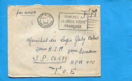 Marcophilie- Guerre-Indochine-lettre F M-Françe Cad Paris 127-1948+flamme + Rouge> SP 62373 T O E-bpm 405 - Marcophilie (Lettres)