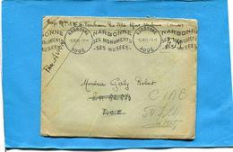 Marcophilie- Guerre-Indochine-lettre F M-Narbonne +flamme -1948+> SP 62373 T O E-réexp CIAB 50724 - Marcophilie (Lettres)