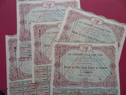 LOT DE 5 ACTIONS DE 500 FRS LA COMMERCIALE DES VINS MARSEILLE 1923 STYLE ART DECO TIRAGE 1000 - Landbouw