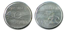 01224 GETTONE TOKEN JETON HUNGARY TELEPHON MAGYAR POST TELEFON ERME WHITE METAL - Tokens & Medals