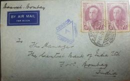 L) 1940 PERSIA, REZA SHAH PAHLAVI, SCOTT A58, 3R VIOLET BROWN, CIRCULATED COVER FROM PERSIA TO INDIA, AIR MAIL, RECEPTIO - Iran