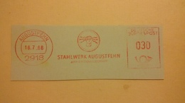 EMA AFS METER STAMP FREISTEMPEL - GERMANY CUT STAHLWERK AUGUSTFEHN 1968 HAND MANO FOUDRE LIGHTNING ZEUS - Mythology