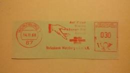 EMA AFS METER STAMP FREISTEMPEL - GERMANY CUT WURZBURG 1968 HAND MANO MAIN HUMAN BODY PARTS - Altri