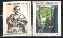 ITALIA - 1986 - SERIE ARTE ITALIANA: ANDREA DEL SARTO E FELICE CASORATI (PITTORI ITALIANI) - NUOVI MNH - 1981-90: Mint/hinged
