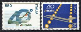 ITALIA - 1986 - 40° ANNIVERSARIO DELLA LINEA AEREA NAZIONALE: ALITALIA - NUOVI MNH - 1981-90: Mint/hinged