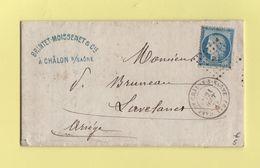 Gare De Chalons Sur Saone - 70 - Saone Et Loire - 21 Aout 1874 - Marcophilie (Lettres)