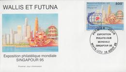 Enveloppe   FDC   1er  Jour   WALLIS  ET  FUTUNA    SINGAPOUR  95   Exposition  Philatélique  Mondiale  1995 - FDC