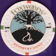 $1 Casino Chip. Foxwoods, Ledyard, CT. K45. - Casino