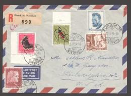 1954  Lettre Aérienne Recommandée Pour Les USA Zum 148-, 150-2  De Ernst Guggenheim - Pro Juventute