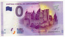 2017-1 BILLET TOURISTIQUE 0 EURO SOUVENIR N°UEHY019911 CHATEAU COMTAL DE CARCASSONNE - EURO