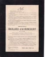 LILLE Charles-Cyrille BAILLIEU D'AVRINCOURT écuyer 78 Ans 1895 Famille De PAS Van OUTRYVE D'YDEWALLE - Décès
