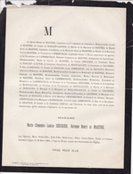 ALGER Marie-Clémence SERURIER Baronne Henry De MAISTRE 23 Ans 1880 Famille De BAILLET-LATOUR - Décès