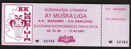 Croatia Zagreb 1999 / Basketball Match / KK Maksimir- KK Karlovac / Ticket - Tickets - Vouchers
