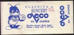 Croatia Zagreb 1991 / Basketball / KK Oveco Zagreb / Ticket - Tickets - Vouchers