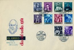 1961 , SOBRE DE PRIMER DIA , ED. 1330 / 1339 , PINTURA , EL GRECO - FDC