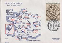 ENVELOPPE SOUVENIR 75E TOUR FRANCE 1988 - SAINT RIQUIER - Ciclismo