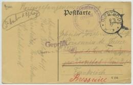 Censure Dépôt De Prisonniers De Saint-Aubin-Epinay + Contrôle Allemand / CP De Diestedde . Redirection Bressuire . 1917 - Marcophilie (Lettres)
