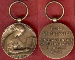 ** MEDAILLE  CINQUANTENAIRE  ECOLE  LAIQUE  1931  -  VILLE  De  COLOMBES ** - France