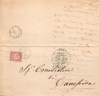 1876  LETTERA CON ANNULLO SORIANO + VITERBO - 1861-78 Vittorio Emanuele II