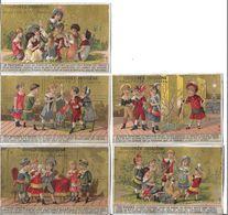 5 CHROMOS   ENFANTS    CORINTHE  PETIT BONHOMME.PANTOUFLE. RUBANS.DEVIN DERRIERE PARAVENT  CHICOREE INDIGENE     N 72 - Trade Cards