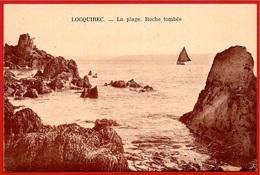 CPA 29 LOCQUIREC Finistère - La Plage, Roche Tombée - Locquirec