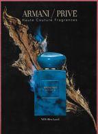 F-   Magnifique Large Rabat Armani - Bleu Lazuli- Perfume Card- USA - Cartes Parfumées